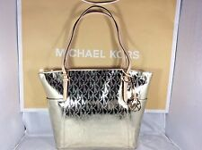 NWT Authentic Michael Kors Pale Gold Metallic Jet Set East West Tote Bag Purse