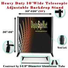 10' X 8' Heavy Duty Telescopic Banner Stand Step and Repeat Adjustable Backdrop