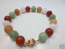Vintage 14k Yellow Gold Clasp 9.25mm Multicolor Jade Necklace w/ 14K Beads