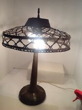 ART DECO Brass  Lamp  1920 antique Weaved Woven Brass And Shade Desk Table