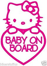 HELLO KITTY BABY ON BOARD BUMPER STICKER HELMET STICKER LAPTOP STICKER