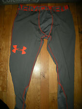Brand New Mens Gray & Orange Under Armour Heat Gear Compression Pants, Size S