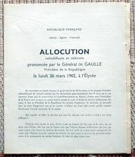 Document ancien - Allocution du Général de Gaulle du 26 mars 1962 - Algérie