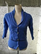 FABIANA FILIPPI BLUE CABLE KNIT ARAN LAYERED JUMPER WOOL SILK CASHMERE 6/8 J107