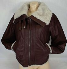 New Womens CONVERSE XS Brown Leather Bomber Jacket $798 P411W804