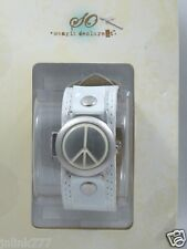 T34:New $19.99 SO Women's Analog Watch w/ Flip Cover-White Peace