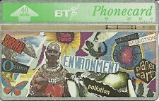 RARE / CARTE TELEPHONIQUE ANGLAISE - ENVIRONEMENT POLLUTION PLANETE TERRE OZONE