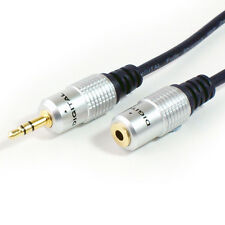 GOLD 2m 3.5mm Jack Plug to Female Stereo Cable - Headphone Extension Audio Lead