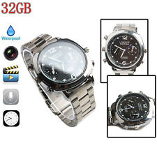 HD Mini DV Waterproof  Watch Spy Camera Built-in 32GB Memory 30fps