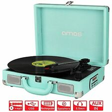 AMOS Retro Suitcase Briefcase Style Turntable 3 Speed Portable Record Vinyl #17F