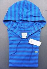 NWT Lacoste Men's Lightweight Bright Blue Striped Cotton Hoodie Shirt 2XL Eur 8