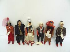 Fine Quality Old Lebanese Lebanon Wood Arab Figurines Figures Dolls with Outfits