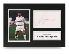 Emilio Butragueno Signed A4 Photo Real Madrid Autograph Display Memorabilia +COA