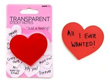 Suck UK Transparent Red Heart Shaped Sticky Note Pad,100 sheets Just a Feeling
