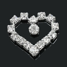 2 FLAT BACK RHINESTONE OPEN HEART EMBELLISHMENTS~CARDS~SEW~WEDDING~FLORAL  (30F)