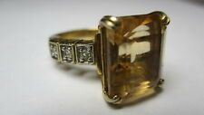 STERLING SILVER 925 ESTATE GRAZIANO VERMEIL YELLOW CUBIC ZIRCONIA RING SIZE 5.5