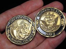 Shellback Crossing the Line Navy Challenge Coin w/ Free Two Headed Quarter