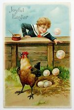 EASTER Eggs Chicken CHILD in Sailor Suit Blows Bubbles Postcard Fantasy EMB