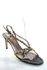 Miu Miu Gray Leather Floral Open Toe High Slim Heel Slingback Sandals Size 8.5