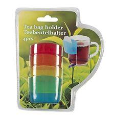 Tea Bag Holder 4pc Set - Tea Bag Clip Holder Non Drip Silicone