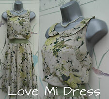 WW2 40's style Classic Flower Print Tea Dress Sz 12 EU40 Full / Circle Skirt