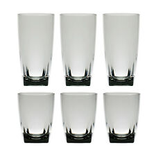 Set of 6 Smoke Grey 16 & 26 oz Acrylic Water Cup w/ Square Base Plastic Tumbler