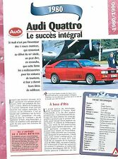 Audi Quattro 1980 GERMANY DEUTSCHLAND ALLEMAGNE  Car  Auto FICHE FRANCE