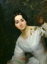 Oil painting nice Russian young woman wearing white dress Hand painted