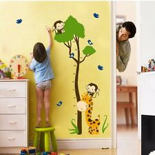Monkey Giraffe Tree Height Chart Wall Sticker Decal Kids Baby Nursery Room Vinyl