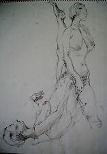 DESSIN-MINE DE PLOMB-ETUDE-MANIERISTE-NU-FEMME-ACADEMIQUE-ATELIER-2/19-LAVIS-