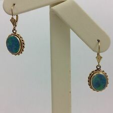 14K YELLOW GOLD OPAL HANGING EARRINGS