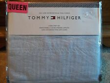 New Tommy Hilfiger Lt Blue Thin Striped Queen Bed  Sheet Set