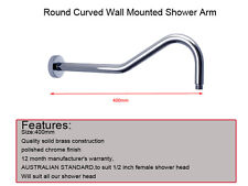 Curved Round Brass Wall Mount Shower Arm