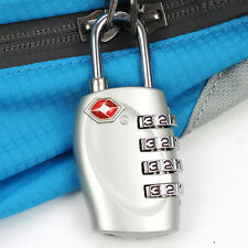 4-Dial TSA Combination Padlock Luggage Suitcase Bag Travel Security Lock Silver