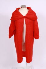 Vtg 60s Retro Red Fuzzy Wool Cowl Collar Open Front Duster Jacket Coat Cape Sz S