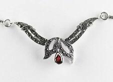 925 ECHT SILBER  *** Jugendstil  Granat Markasit Collier Kette, 45 cm