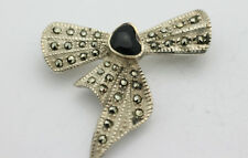 Sterling Silver .925 Cute Marcasite & Onyx Bow Ribbon Pin Brooch 6.3g i546