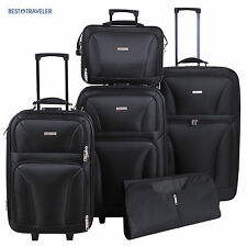 5Pcs Expand Spinner Luggage Tote Bag Travel Set Trolley Carry On Suitcase Black