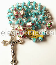 * Sterling Silver GIFT ROSARY Cross necklace Aquamarine & Coloured glaze Beads