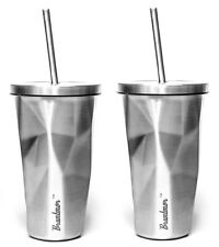 Stainless Steel Cup With Straw - Double Wall Chiseled Travel Tumbler - SET OF 2