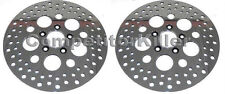 """11.5"""" Harley Brake Rotors Two Front Polished Finish Stainless Steel Drilled"""