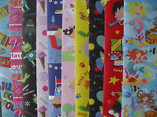 10 SHEETS OF GOOD QUAILTY ASSORTED CHILDREN'S BIRTHDAY WRAPPING PAPER