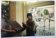 Vintage 90s PHOTO Woman Eating Ice Cream At Lipstick Store Beauty Shop