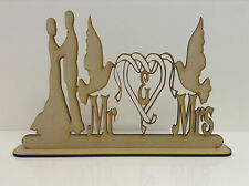 MDF, Wedding Sign Mr & Mrs with Doves and couple