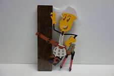 "Reddy Kilowatt WILLIE WIREHAND WOOD STAIN PUZZLE! 14"" LARGE ELECTRICIAN GIFT"