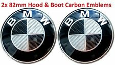 2x BMW Carbon BW Emblem 82mm+82mm Bonnet/Boot Badge E30 E36 E46 E90 F10 F30 F31