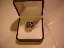 SO BEAUTIFUL SOLID SILVER RING-UNUSUAL FLOWER DESIGN GARNETS & MARCASITES SIZE K