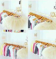 Kids Children Wooden Hanging Clothes Rail Rack Nursery Bedroom Wardrobe storage