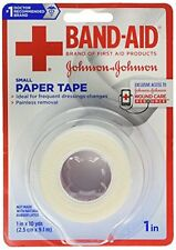 5 Pack Johnson & Johnson Band-Aid Small Paper Tape Wound Care 1 in x 10 Yds Each