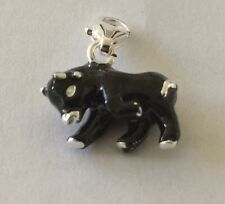 LOVELY BLACK & SILVER BULL CLIP ON CHARM FOR BRACELETS -3D-SILVER PLATE 925